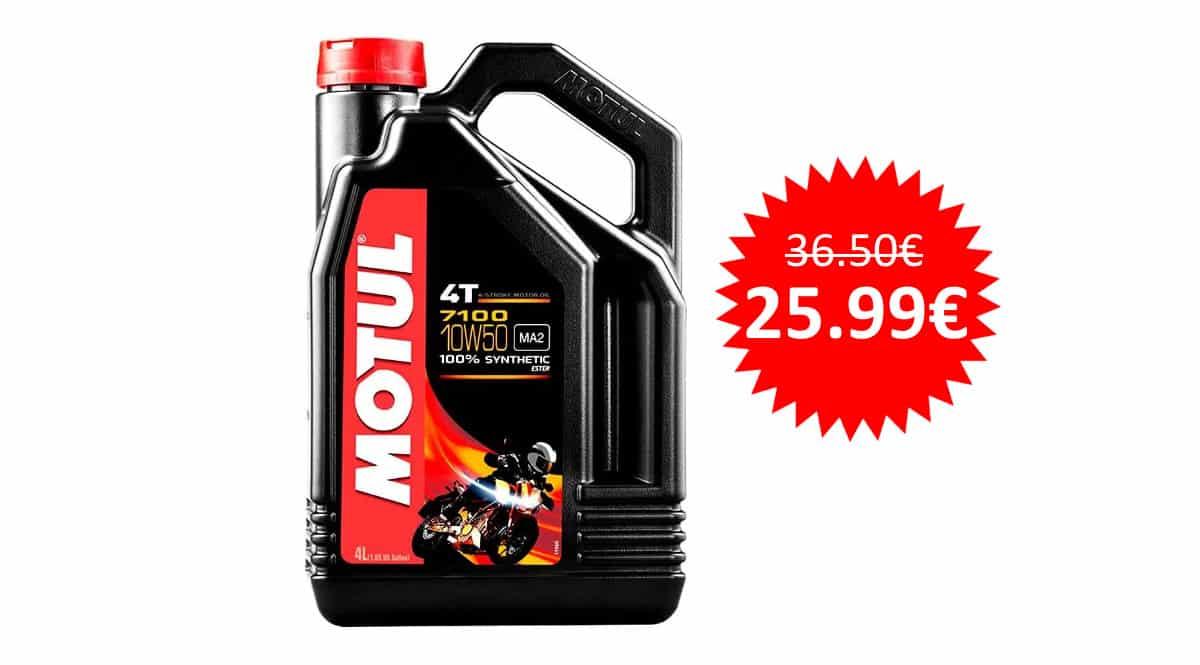 ¡Precio mínimo histórico! Aceite de motor Motul 7100 10W50 4T 4L sólo 25.99 euros.