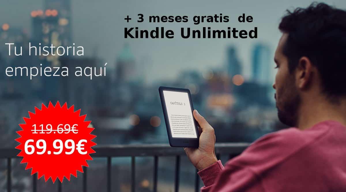 ¡Precio mínimo histórico! Amazon Kindle con luz + 3 meses gratis de Kindle Unlimited sólo 69.99 euros. En negro y en blanco.
