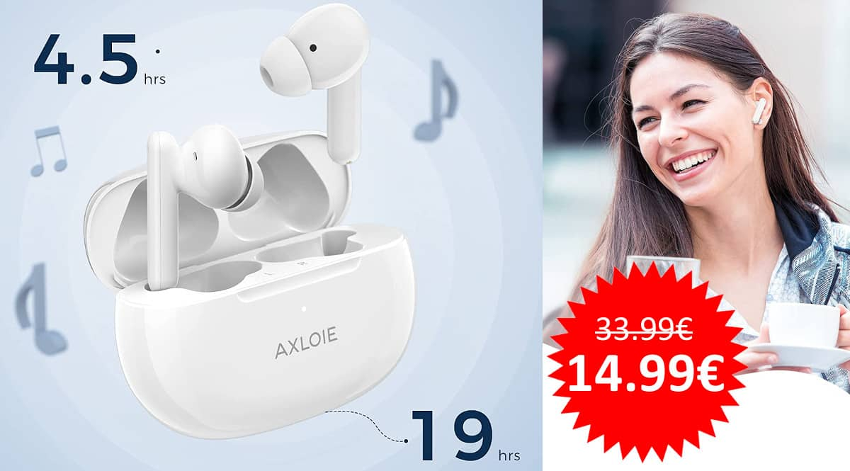 ¡Código descuento! Auriculares Bluetooth Axloie B3 sólo 14.99 euros. 56% de descuento.