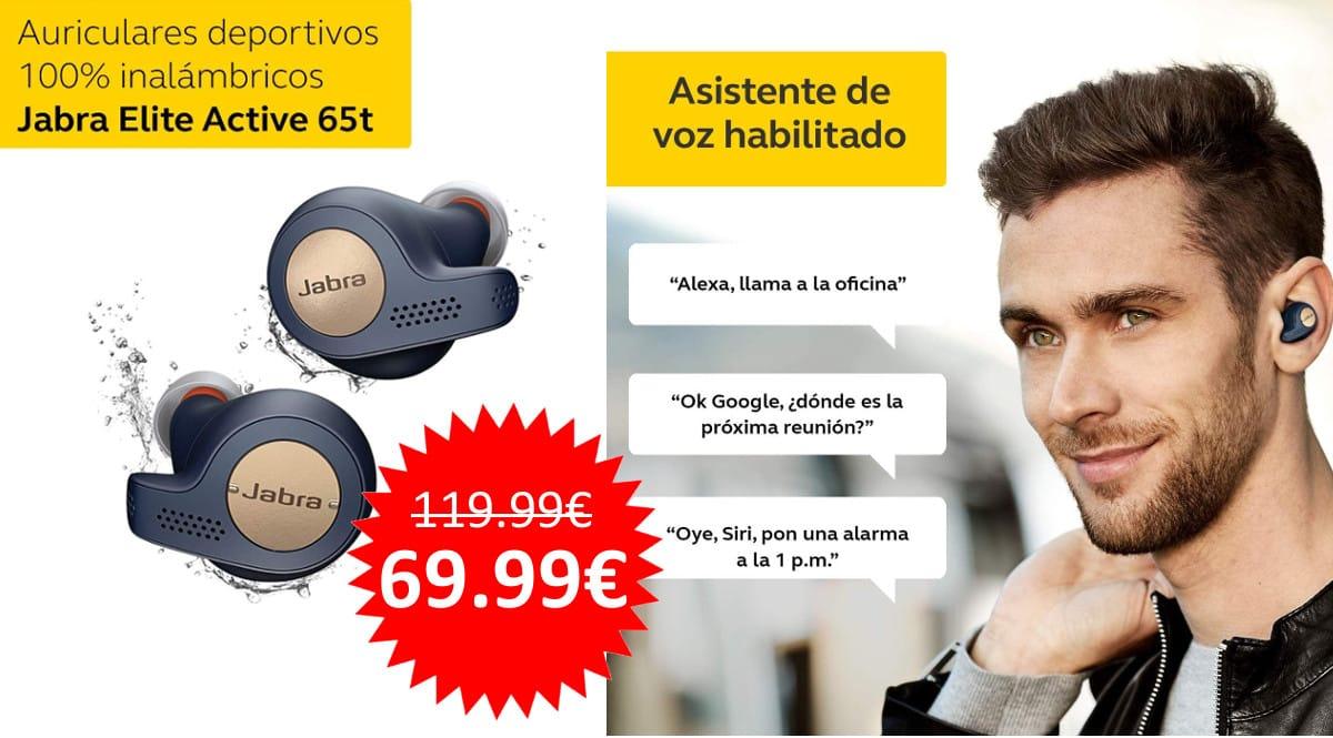 ¡Precio mínimo histórico! Auriculares deportivos Bluetooth Jabra Elite Active 65t sólo 69.99 euros. Te ahorras 50 euros. En negro y en azul.