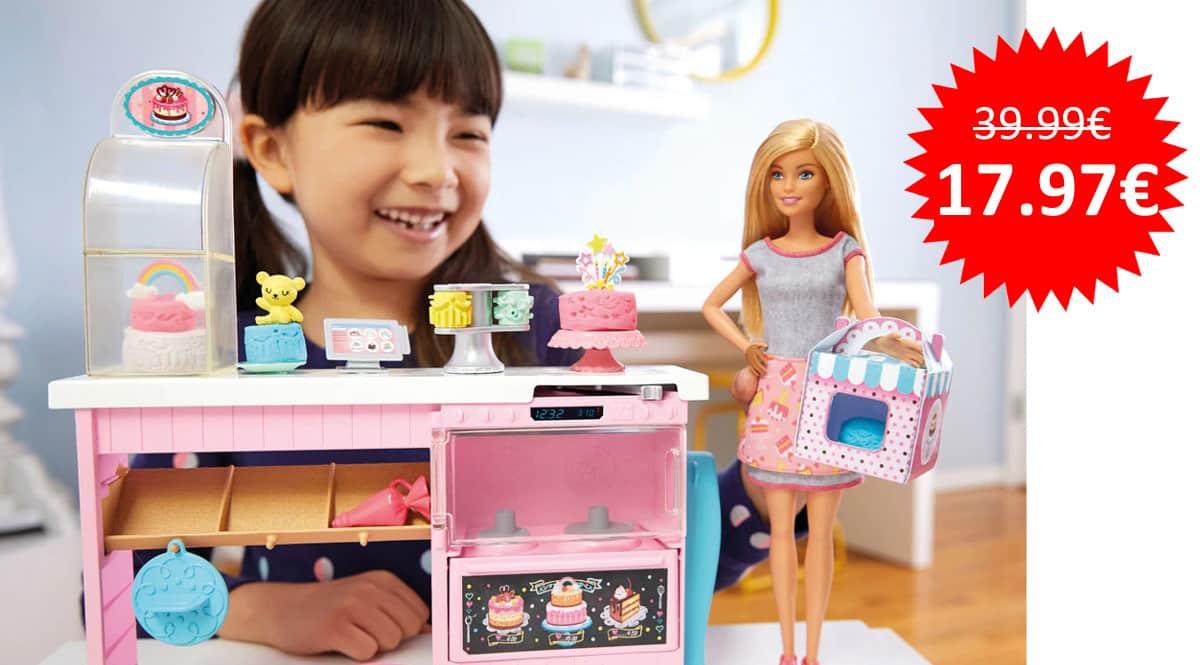 ¡¡Chollo!! Barbie y su pastelería, muñeca con cocina y accesorios, sólo 17.97 euros. 55% de descuento.