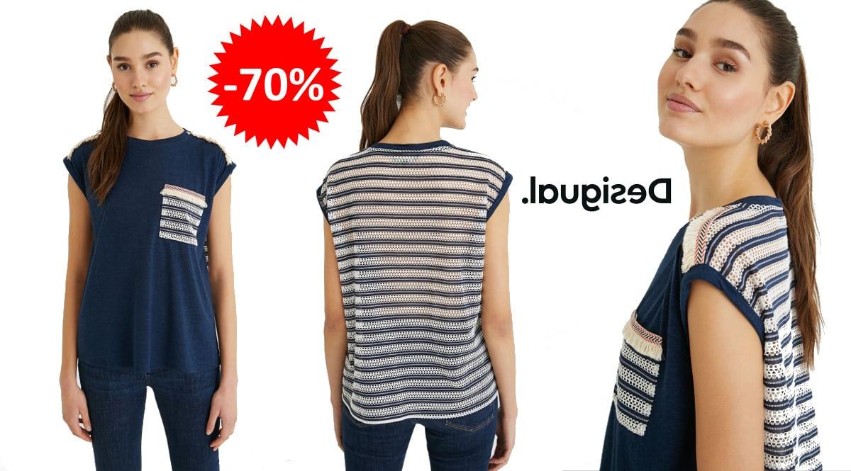Camiseta Desigual Dublin barata, ropa de marca barata, ofertas en camisetas chollo