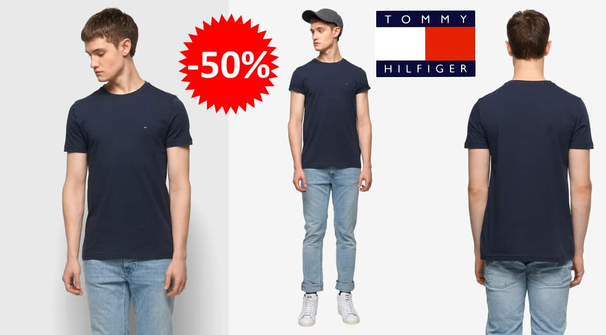 Camiseta básica Tommy Hilfiger Core Stretch Slim barata, camisetas de marca baratas, ofertas en ropa, chollo
