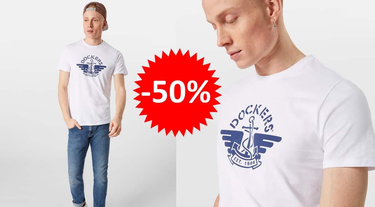 ¡Precio mínimo histórico! Camiseta para hombre Dockers 1986 Logo sólo 12 euros. 50% de descuento.