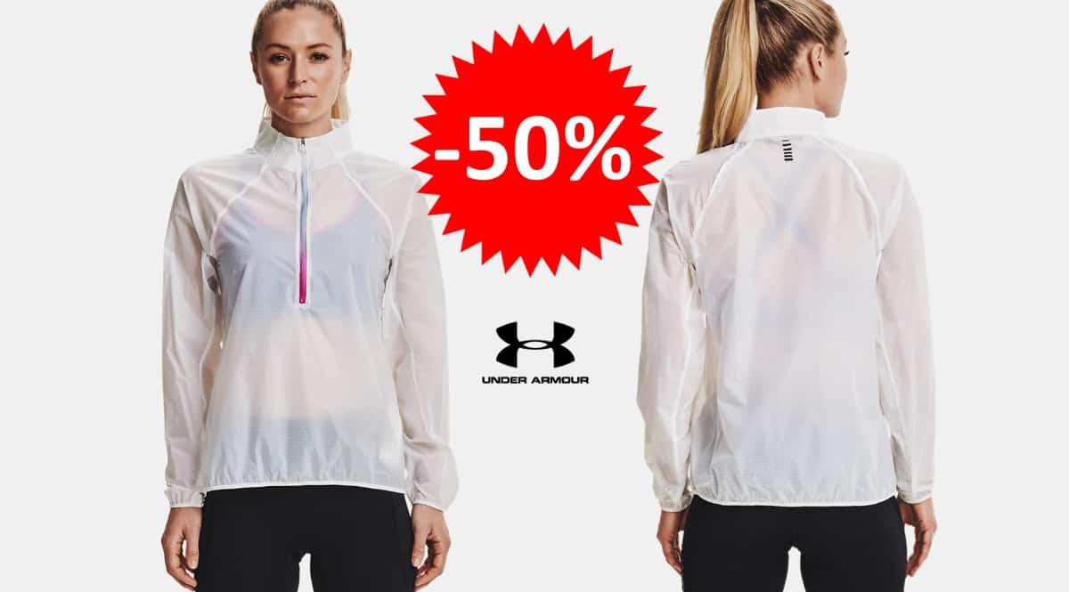 ¡¡Chollo!! Chaqueta de running para mujer UA Impasse Flight sólo 69.97 euros. 50% de descuento.