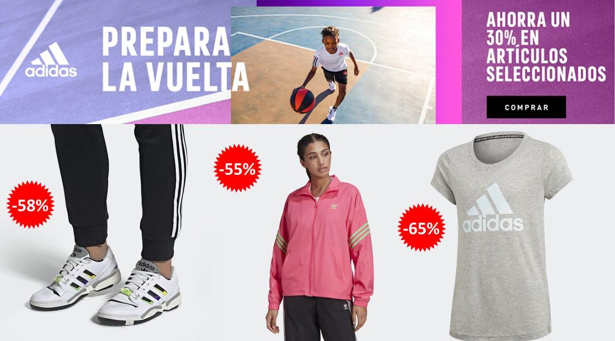 Descuento EXTRA Adidas agosto, ropa de marca barata, ofertas en calzado chollo
