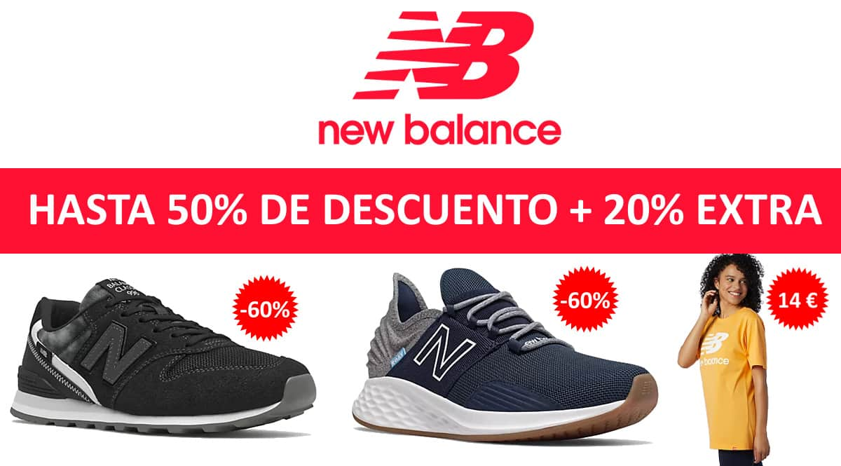 Descuento EXTRA rebajas de New Balance, ropa de marca barata, ofertas en calzado chollo