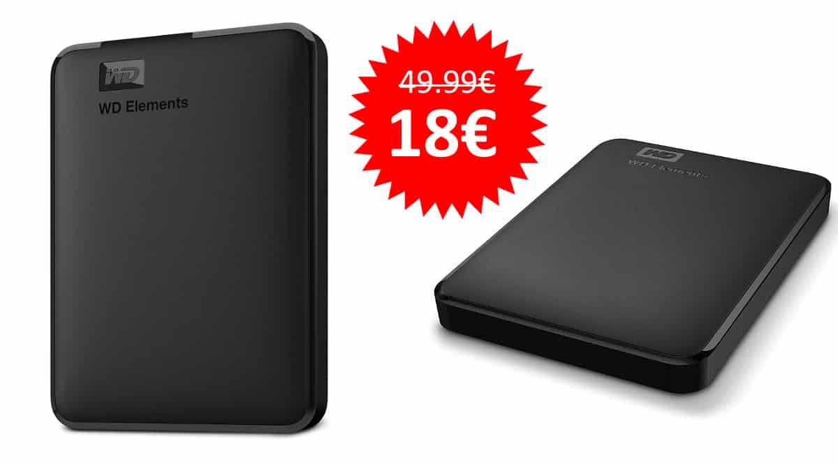 ¡¡Chollo!! Disco duro externo portátil WD Elements de 1TB con USB 3.0 sólo 18 euros. 64% de descuento.