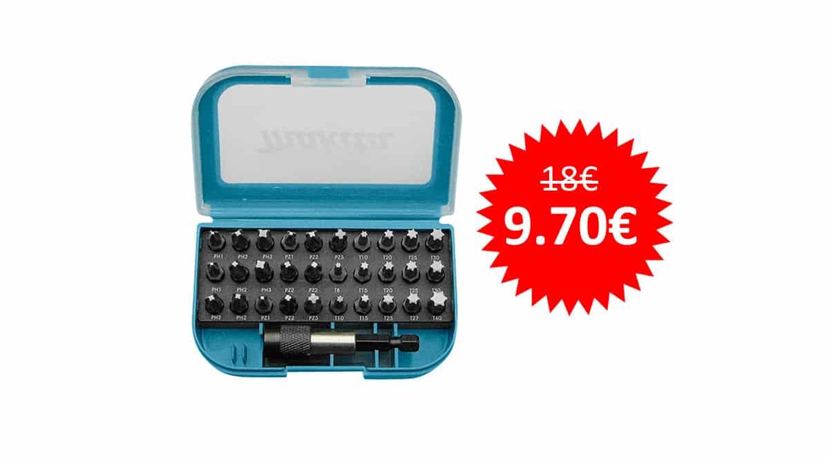 ¡Precio mínimo histórico! Juego de puntas para destornillador Makita P-73374 sólo 9.70 euros.