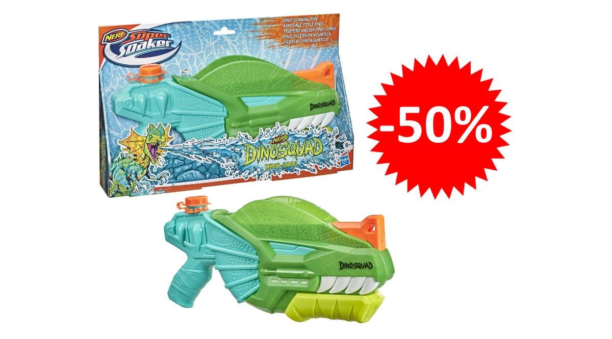 ¡Precio mínimo histórico! Pistola de agua Nerf Supersoaker Dinosquad sólo 7.50 euros. 50% de descuento.