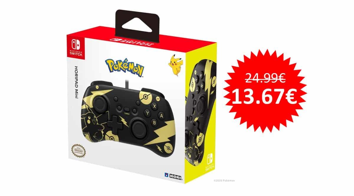 ¡Precio mínimo histórico! Mando HORI Mini Pikachu Black & Gold para Switch sólo 13.67 euros.
