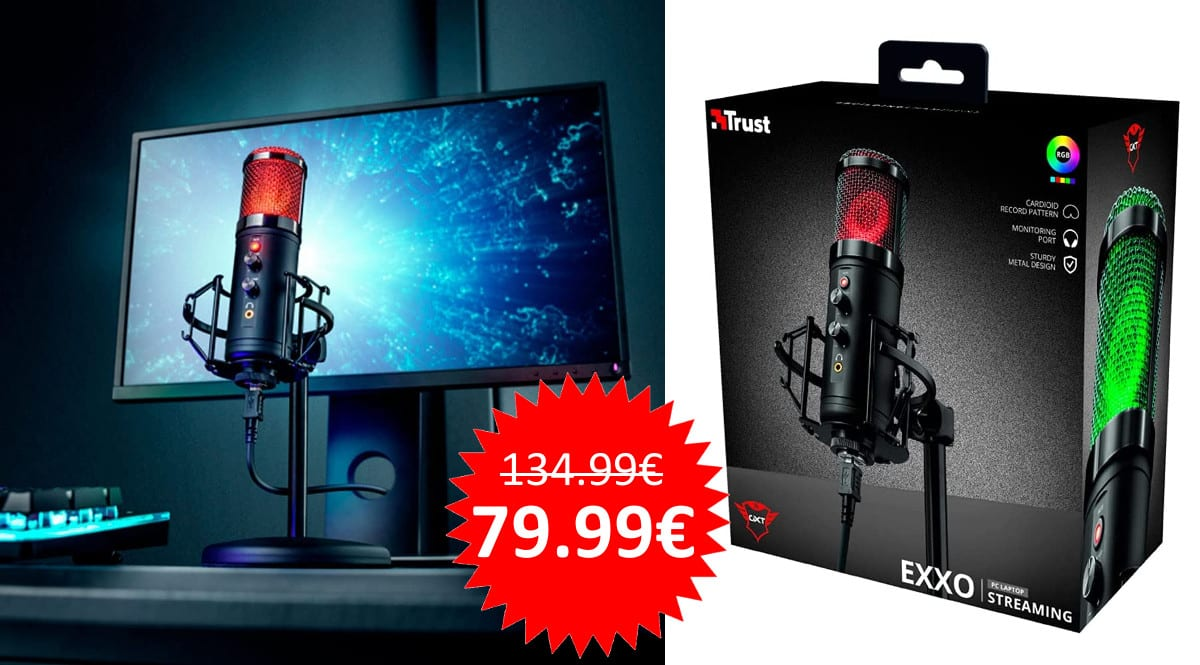 ¡Precio mínimo histórico! Micrófono USB Trust Gaming GXT 256 Exxo para streaming en PC, PS4 y PS5 sólo 79.99 euros. Te ahorras 55 euros.