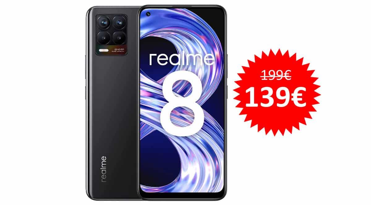 ¡Precio mínimo histórico! Móvil Realme 8 de 6.4″ 4GB/64GB sólo 139 euros. Te ahorras 60 euros.