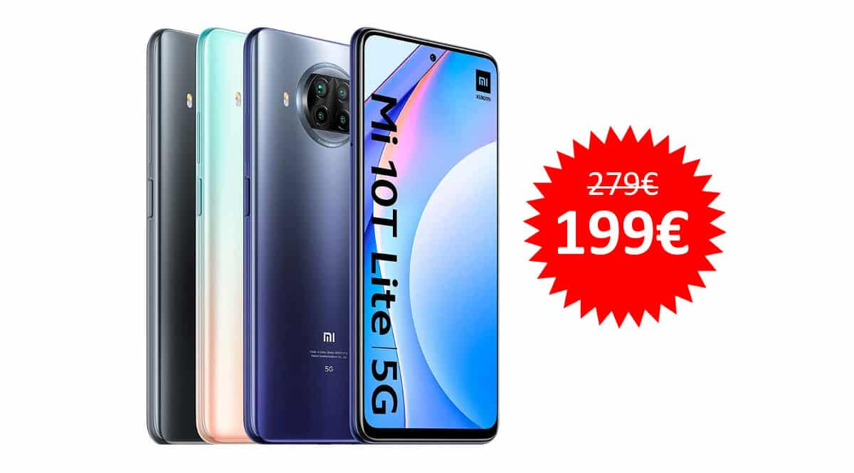 ¡Sólo hoy! Móvil Xiaomi Mi 10T Lite 5G 6.67″ FHD+ 6GB/64GB sólo 199 euros. Te ahorras 80 euros. 3 colores.