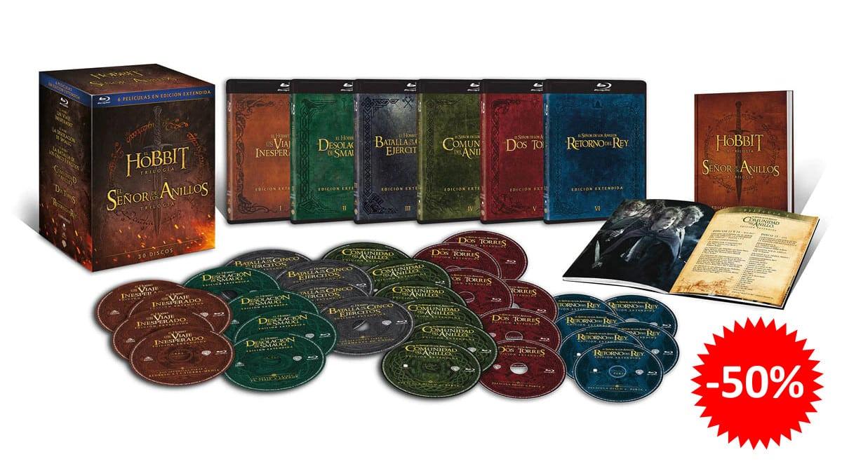 ¡¡Chollo!! Pack Tierra Media, toda la saga de El Señor de los Anillos y de El Hobbit en Blu-ray, sólo 49.99 euros. 50% de descuento.