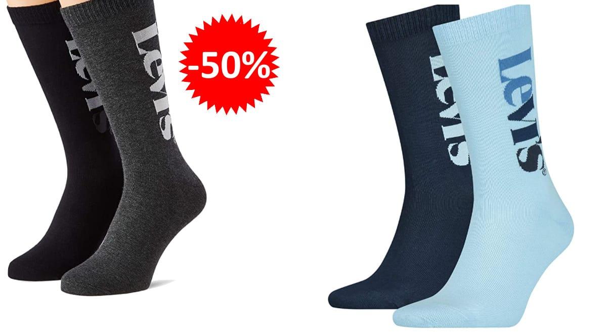 Pack de 2 pares de calcetines Levi's Vertical Logo Regular baratos, calcetines de marca baratos, ofertas en ropa, chollo