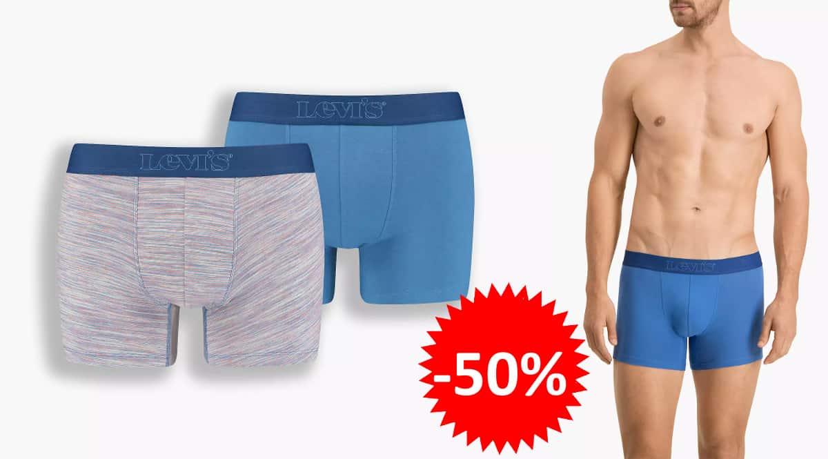 Pack de calzoncillos Levi's Men's Micro Stripe Boxer baratos, ropa interior de marca barata, ofertas en ropa, chollo