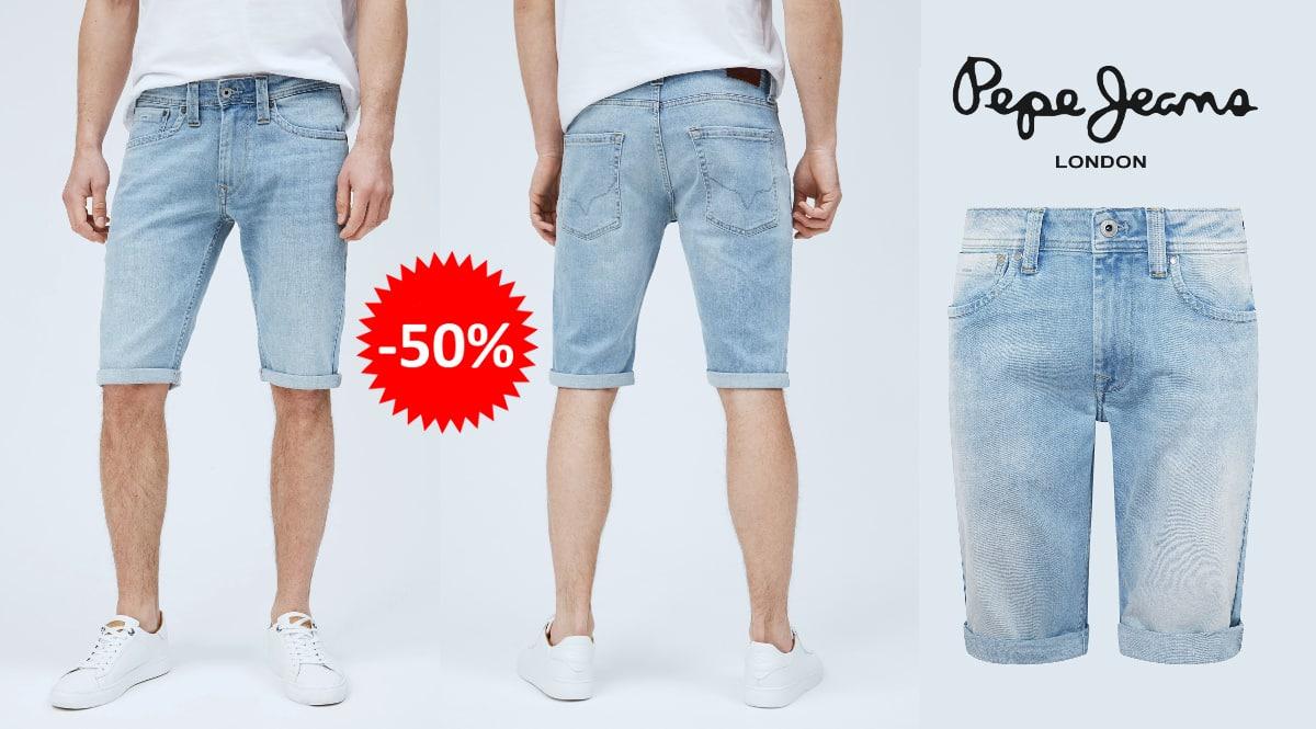 Pantalon corto Pepe Jeans Denim Cash barato, ropa de marca barata, ofertas en pantalones chollo