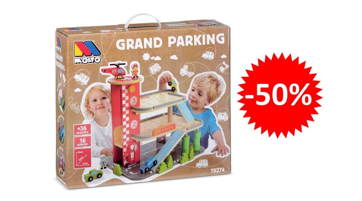 ¡Precio mínimo histórico! Parking infantil de madera Grand Parking Molto sólo 24.95 euros. 50% de descuento.