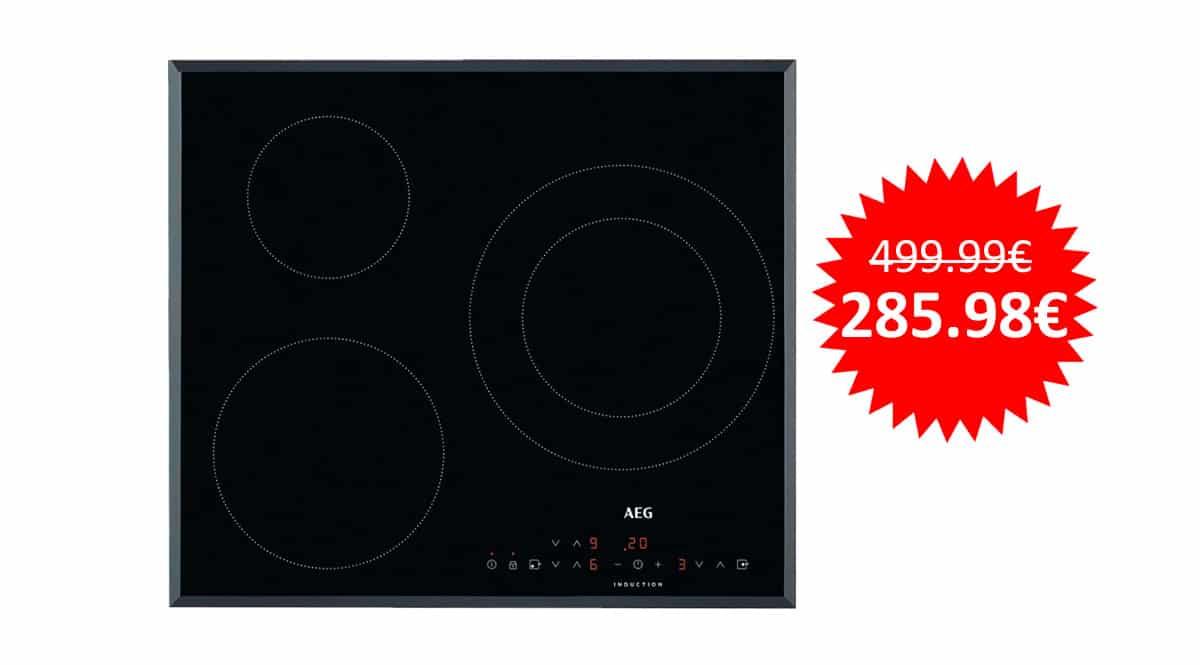 ¡¡Chollo!! Placa de inducción AEG IKB6330SFB con 3 zonas de cocción sólo 285 euros. Te ahorras 214 euros.