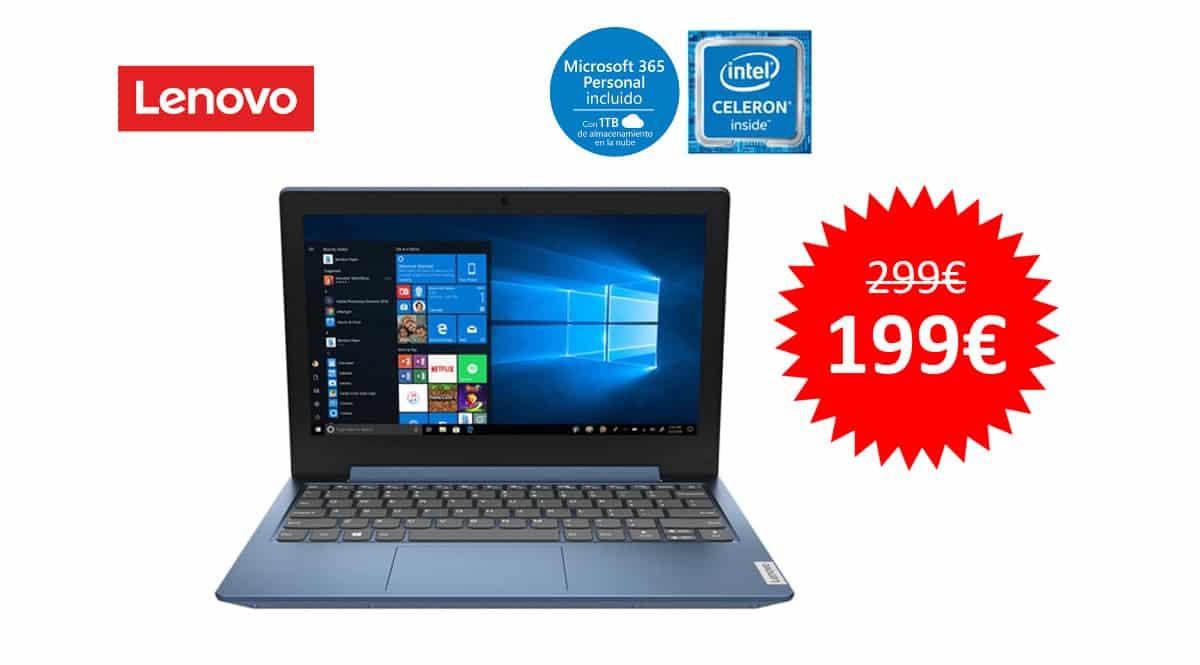 ¡Precio mínimo histórico! Portátil Lenovo IdeaPad 1 11IGL05 de 11.6″ Intel Celeron/4GB/64GB eMMC sólo 199 euros. Te ahorras 100 euros.