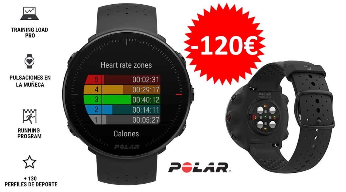 Pulsometro GPS Polar Vantage M barato. Pulsometros baratos, smartwatches baratos,chollo