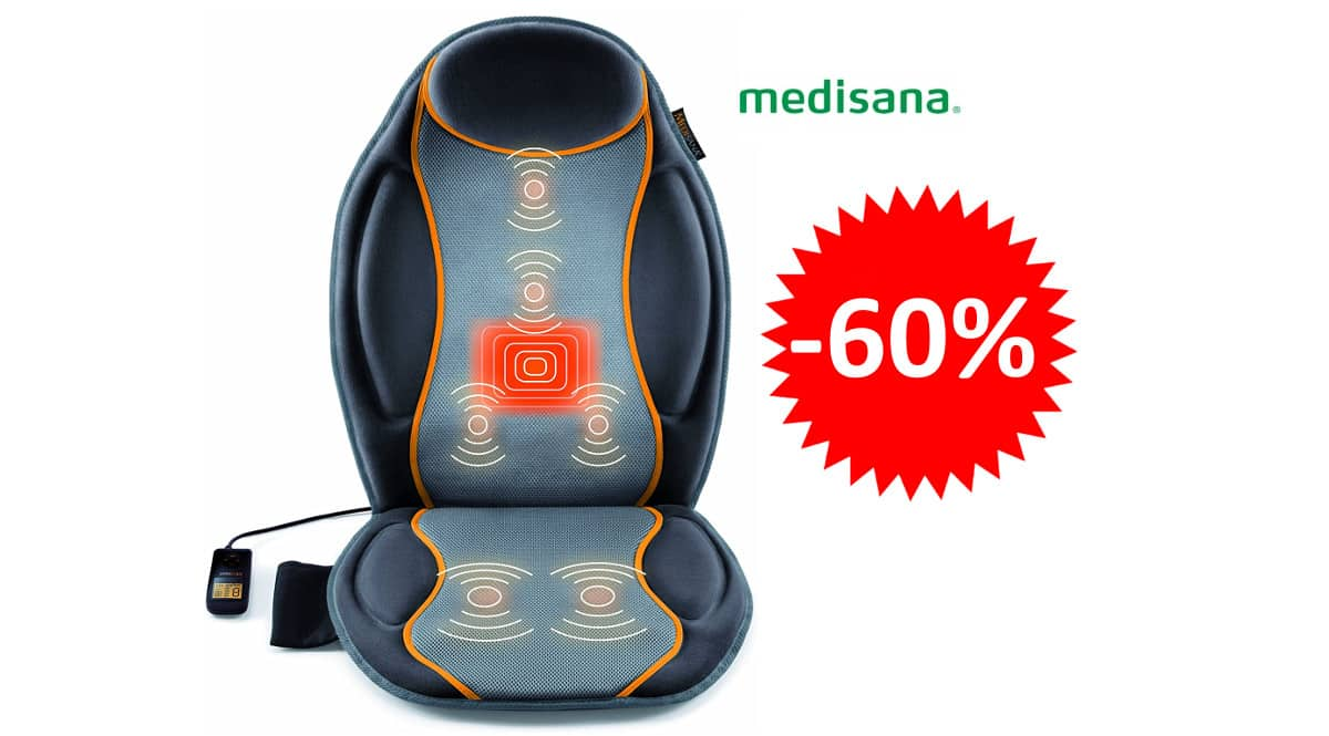 ¡Precio mínimo histórico! Respaldo de masaje con vibración Medisana MC 810 sólo 27.99 euros. 60% de descuento.