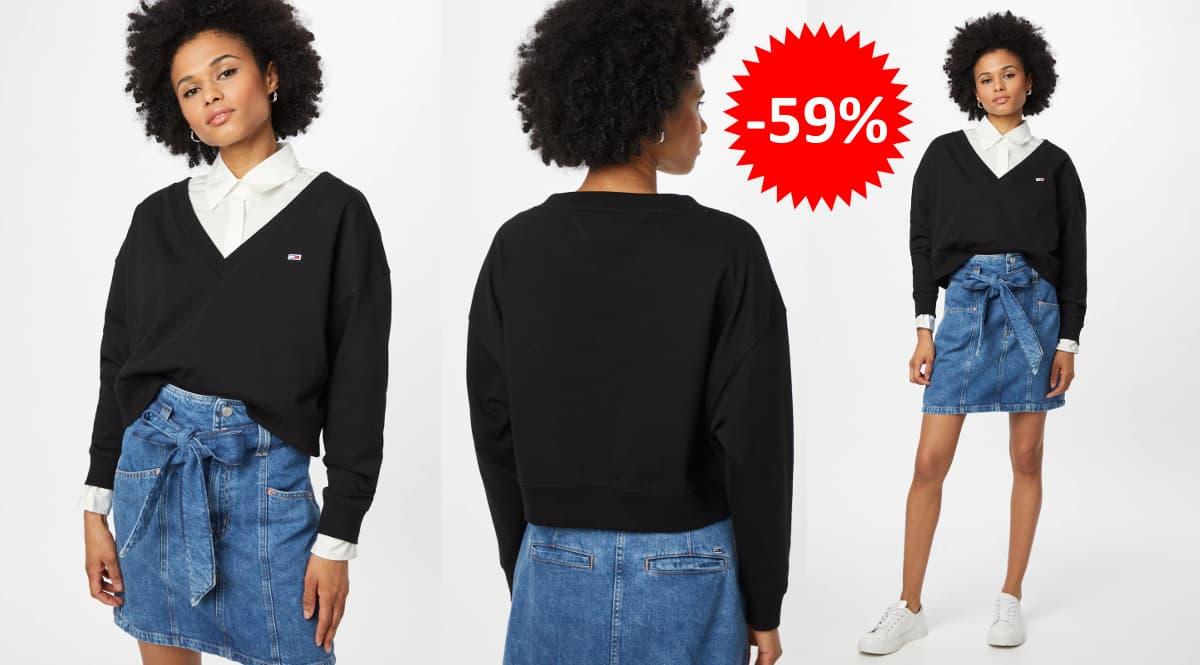 Sudadera Tommy Jeans Cropped barata, ropa de marca barata, ofertas en sudaderas chollo