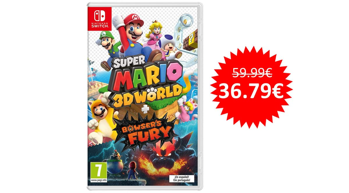 ¡Precio mínimo histórico! Super Mario 3D World + Bowser's Fury para Switch sólo 36 euros.