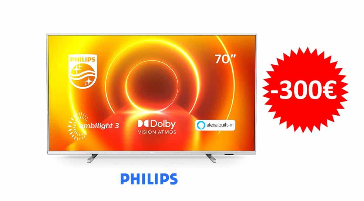 ¡Precio mínimo histórico! Televisor 70″ LED Philips 70PUS7855/12 UHD 4K Ambilight 3 sólo 699 euros. Te ahorras 300 euros.