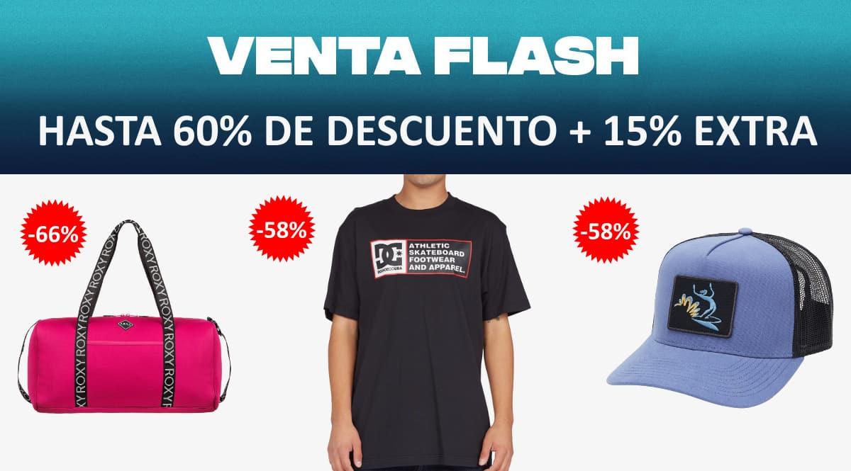 Venta Flash Quiksilver, DC Shoes y Roxy barata, ropa de marca barata, ofertas en complementos chollo