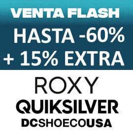 Venta Flash Quiksilver, DC Shoes y Roxy barata, ropa de marca barata, ofertas en complementos