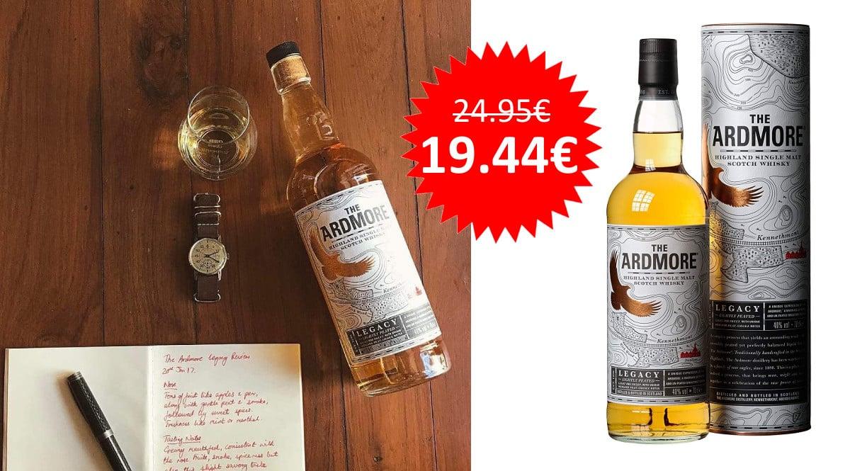 ¡Precio mínimo histórico! Whisky escocés The Ardmore Legacy sólo 19.44 euros.