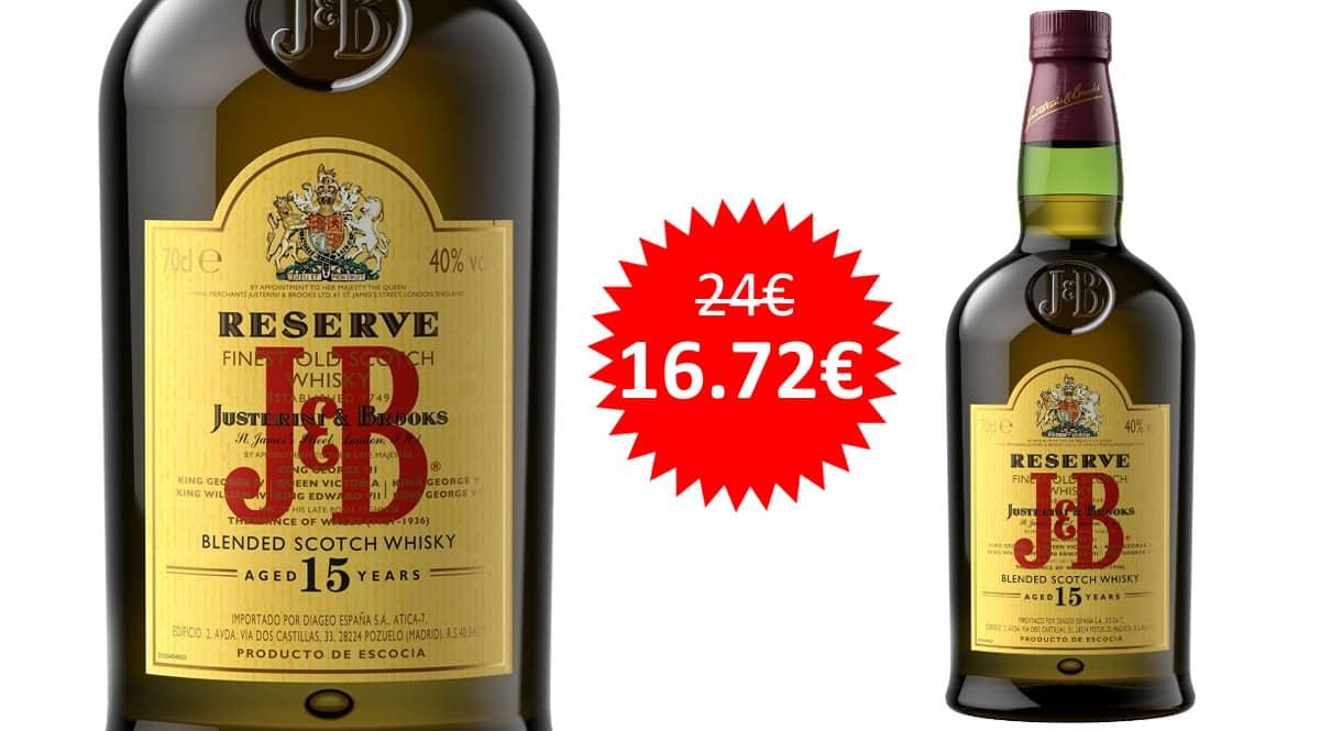 ¡¡Chollo!! Whisky escocés J&B reserva 15 años sólo 16.72 euros.