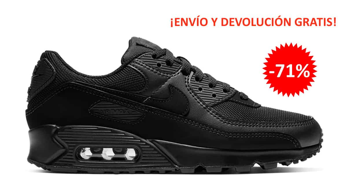 Zapatillas Nike Air Max 90 negras baratas, calzado de marca barato, ofertas en zapatillas chollo
