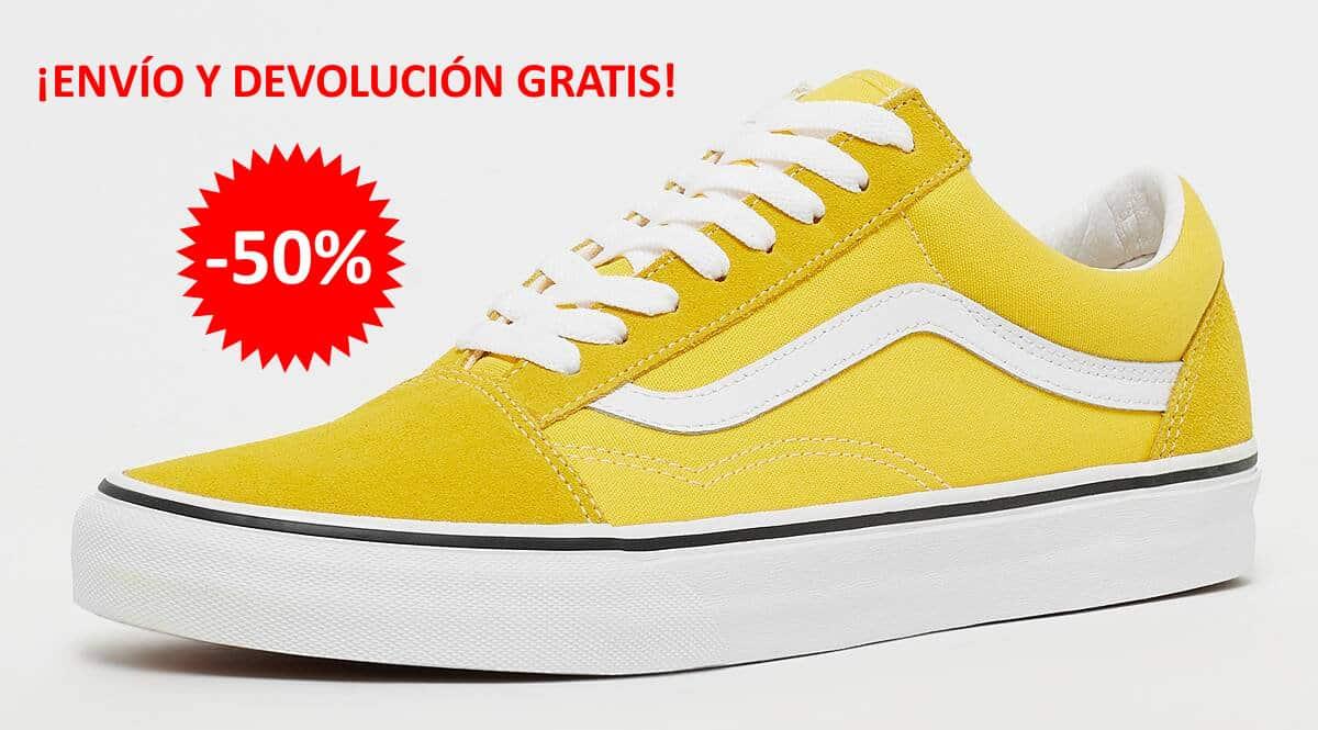 Zapatillas Vans Old Skool amarillas baratas, calzado de marca barato, ofertas en zapatillas deportivas chollo