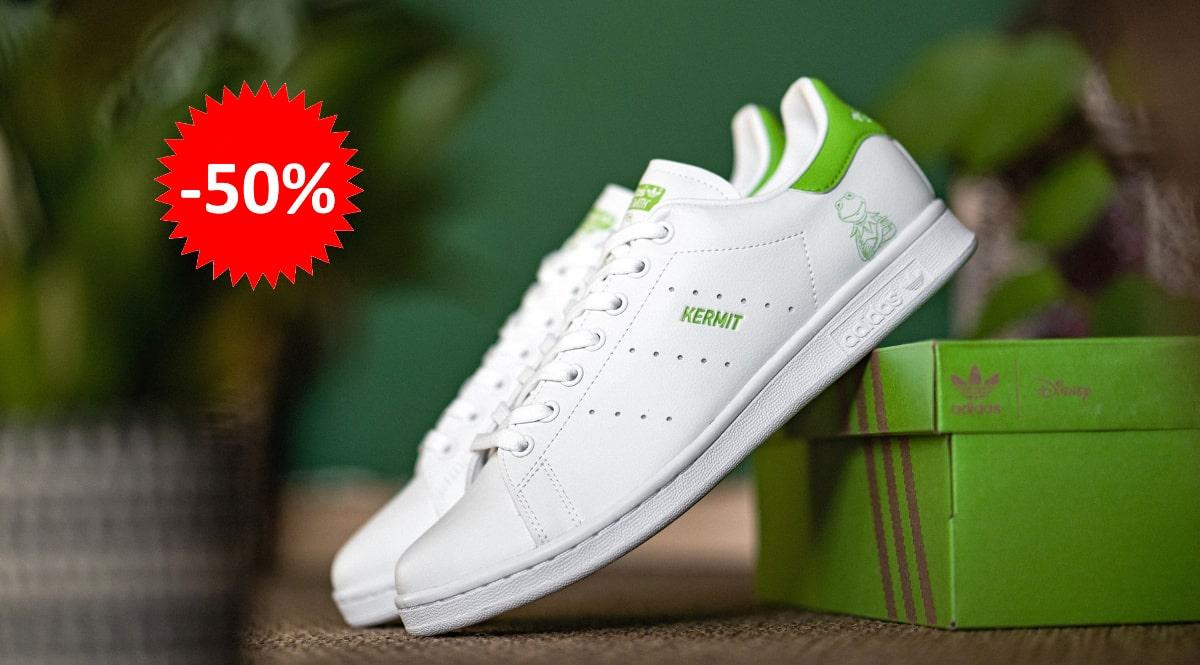 Zapatillas unisex Adidas Stan Smith Kermit The Frog baratas, calzado de marca barato, ofertas en zapatillas chollo