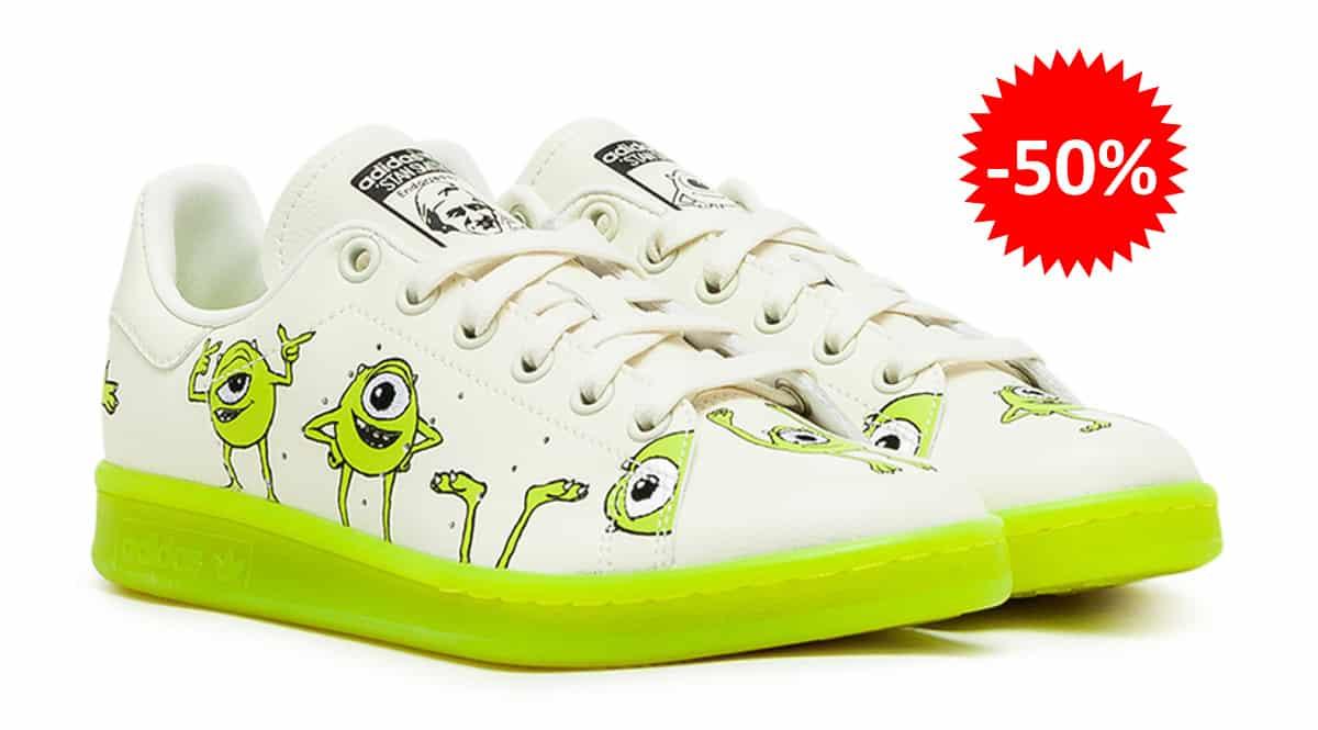Zapatillas unisex Adidas Stan Smith Mike Wazowski baratas, calzado de marca barato, ofertas en zapatillas chollo