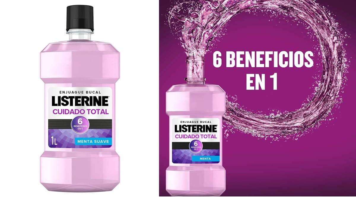 Enjuague bucal Listerine cuidado total barato, enjuagues bucales baratos, ofertas en supermercado, chollo