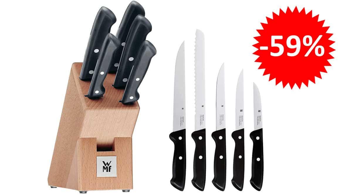¡¡Chollo!! Juego de cuchillos de 5 piezas en bloque de madera WMF Classic Line sólo 45 euros. 59% de descuento.