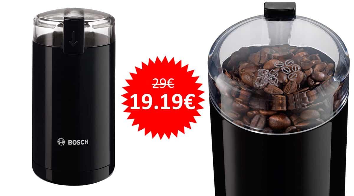 ¡Precio mínimo histórico! Molinillo de café eléctrico Bosch TSM6A013B sólo 19.19 euros.