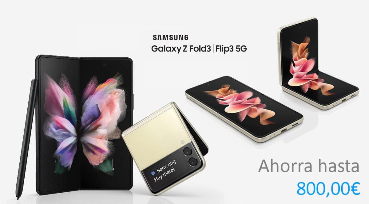 Nuevos Samsung Galaxy Z Fold3 5G y Samsung Galaxy Z Flip3 5G baratos, ofertas en móviles, móviles baratos, chollo