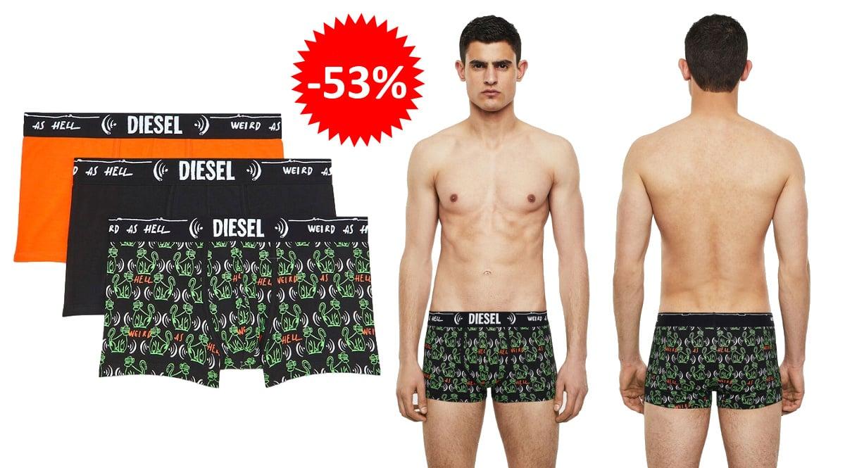 Pack de 3 boxers Diesel Damien baratos, ropa de marca barata, ofertas en ropa interior chollo