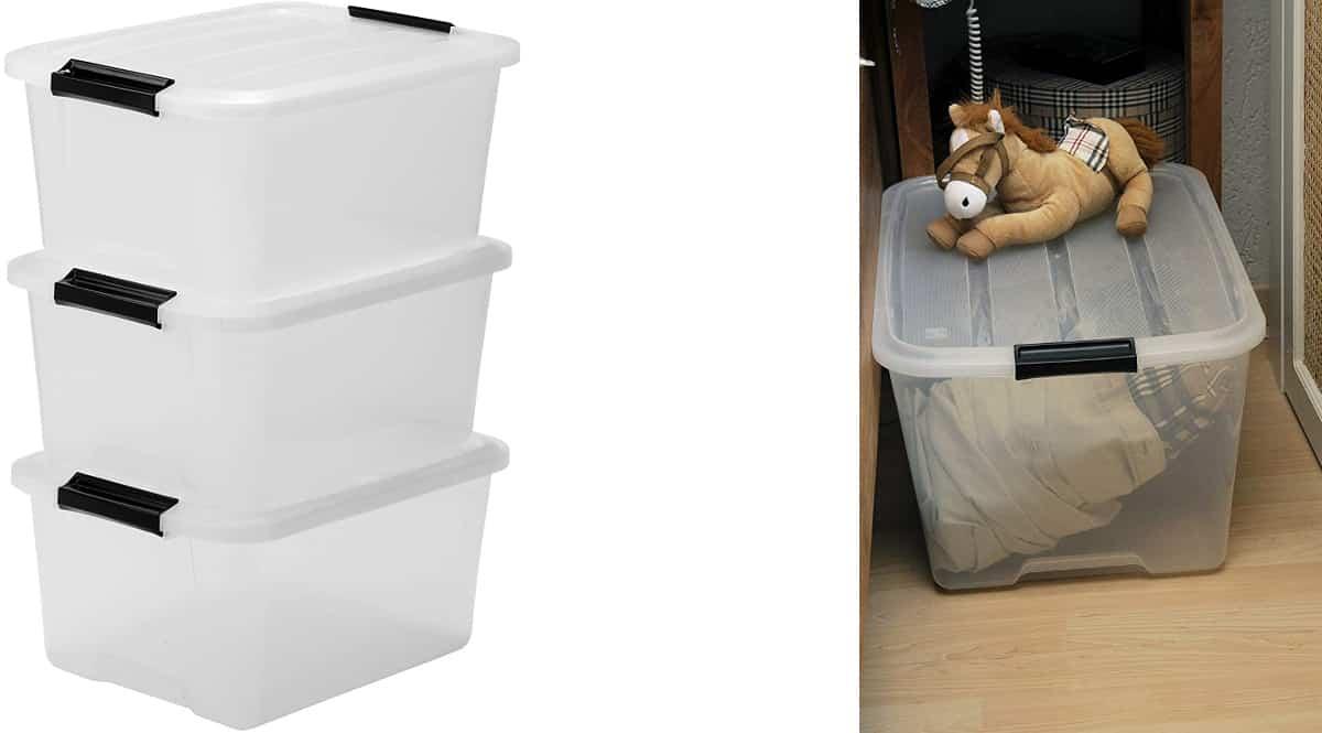 Pack de 3 cajas de almacenamiento Iris Ohyama baratas, cajas de marca baratas, ofertas ordenación hogar, chollo
