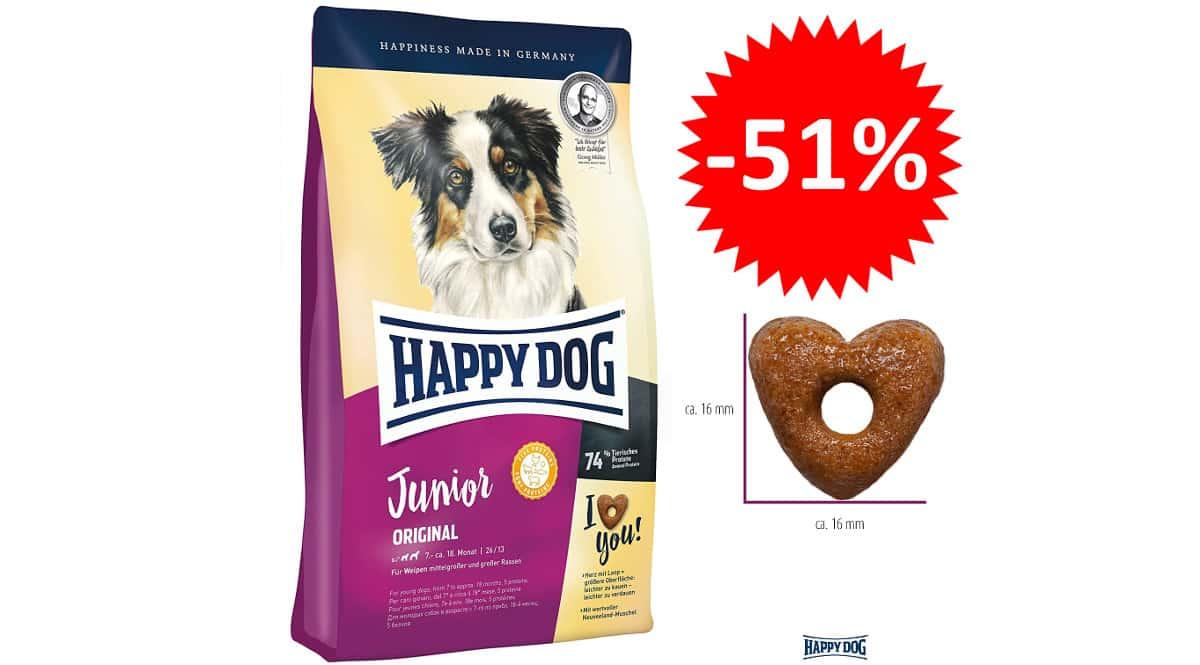 ¡Precio mínimo histórico! Pienso Happy Dog Supreme Junior Original (10kg) para perro joven sólo 18.32 euros. 51% de descuento.