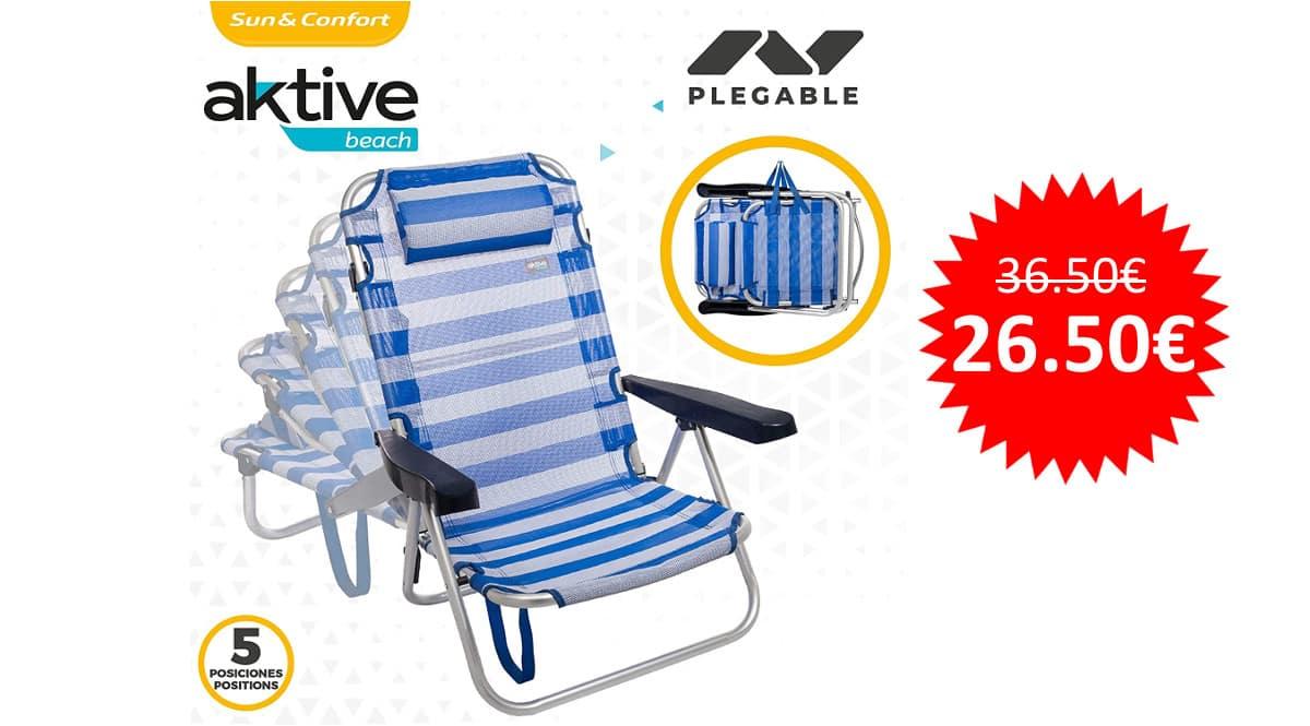 ¡Precio mínimo histórico! Silla de playa plegable Aktive 53955 sólo 26 euros.