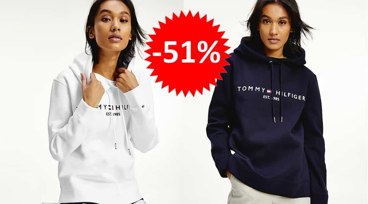 ¡Precio mínimo histórico! Sudadera para mujer Tommy Hilfiger Essential Fleece-Hoodie sólo 49 euros. 51% de descuento. En blanco y en azul.