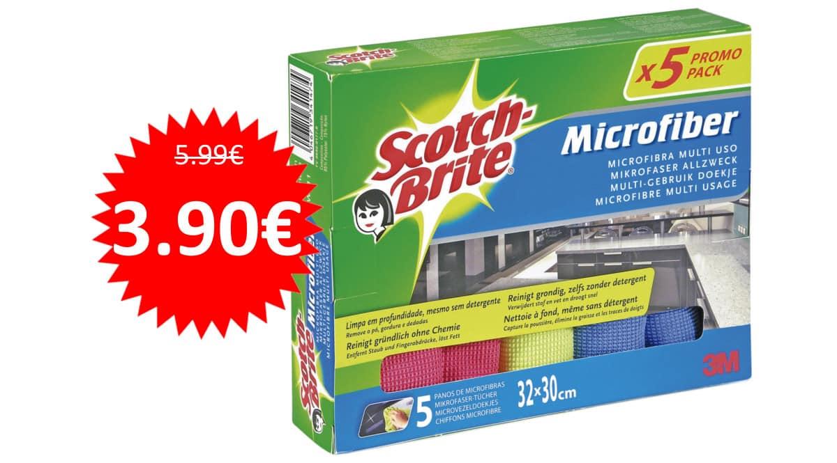 5 bayetas de microfibra Scotch-Brite baratas. Ofertas en supermercado, chollo