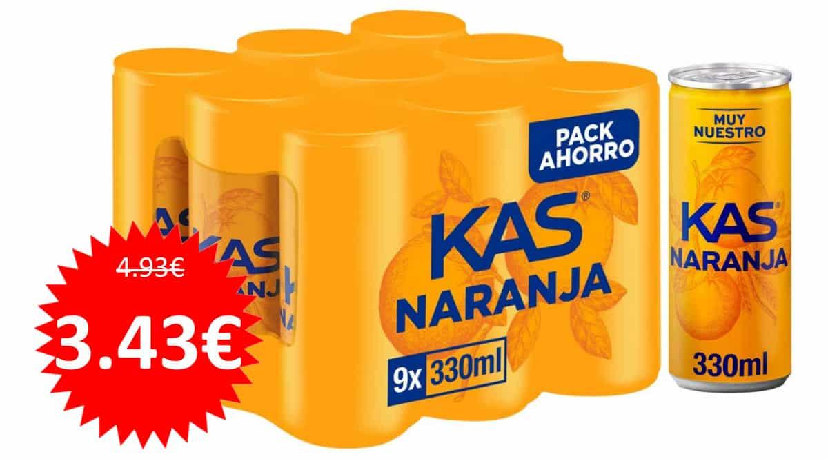 9 latas de refresco Kas Naranja baratas. Ofertas en supermercado, chollo