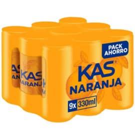 9 latas de refresco Kas Naranja baratas. Ofertas en supermercado